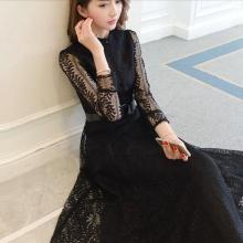 长袖春秋韩版时尚显瘦性感镂空长裙