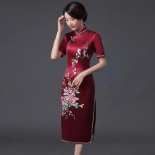 长款刺绣旗袍裙婚礼妈妈旗袍真丝改良复古连衣裙