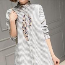 棉麻条纹衬衫女长袖中长款宽松显瘦韩版百搭刺绣衬衣